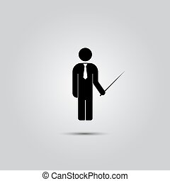 The man standing with a pointer. Flat Web icon or the icon,...