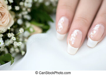 manicure - Wedding event manicure three female fingers with...