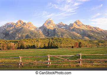 sunrise in the Tetons - sunrise in the Grand Tetons National...