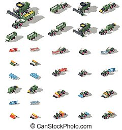Agricultural machinery isometric icon set vector graphic...