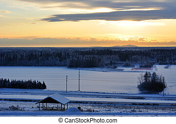 City of Fairbanks, Alaska at sunset in winter