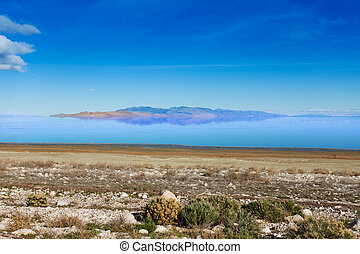 Beautiful view of Great Salt Lake at sunny day