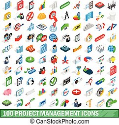 100 project management icons set, isometric style