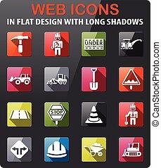 road repairs icon set - road repairs icons set in flat...