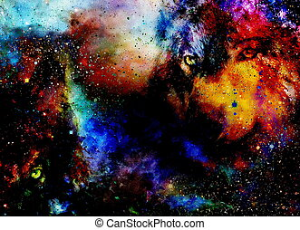 magical space wolf, multicolor computer graphic collage. -...
