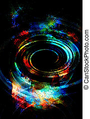 centripetal circle shapes on abstract colorful cosmic...