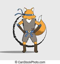 Fox ninja EPS10 - Fox wearing ninja costume cartoon vector...