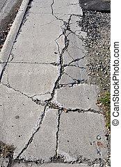 rachado, calçada, urbano, Área