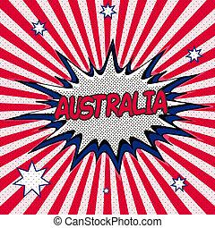 Flag of Australia in the style of pop art Comic Speech...