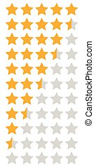 yellow orange 5 star rating infographic icons set, vector...