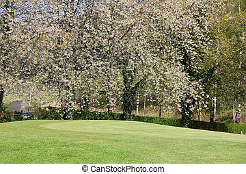 Beautiful spring landscape of golf course in Saint Saens,...