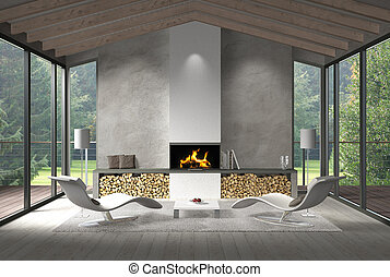 contemporary living room with glass front and garden