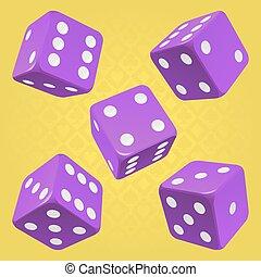 Vector purple dice set