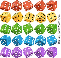 Vector multicolor dice set - Vector Casino Dice Set of...