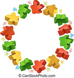 Circle frame of multicolored meeples