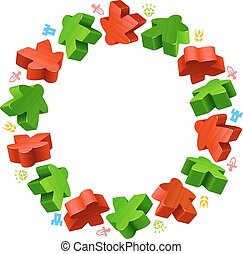 Circle frame of red and green meeples