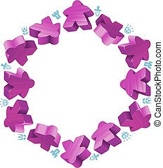 Hex frame of purple meeples for board games. Game pieces and...