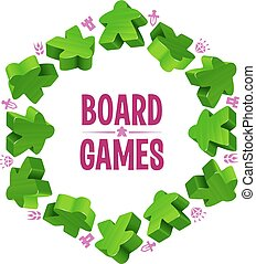Hex frame of green meeples for board games. Game pieces and...