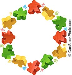 Hex frame of multicolored meeples