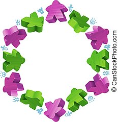 Hex frame of meeples for board games. Green and purple game...