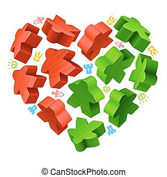 Concept of love by board games - Vector game pieces in the...