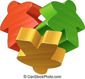 Concept of love by board games - Vector meeples in the shape...