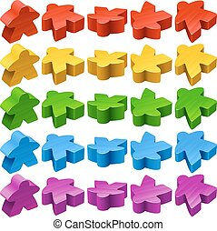 Vector set of meeples for board games - Vector set of...