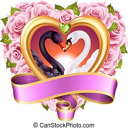 Hearts, roses and swans - Vector love concept. Pink roses in...