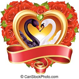 Hearts, roses and swans - Vector love concept. Red roses in...