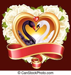 Hearts, roses and swans - Vector love concept. White roses...
