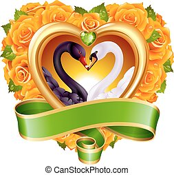 Hearts, roses and swans - Vector love concept. Yellow roses...