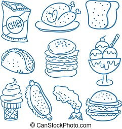 Doodle of food and drink style collection