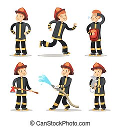 Fireman Cartoon Character Set. Firefighter with Hose. Vector illustration