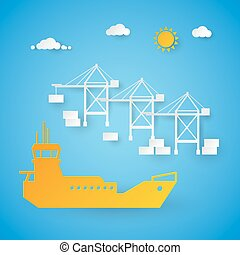 Cargo Ship Loading in Shipping Port. Harbor Dock. Cut Paper Vector Illustration