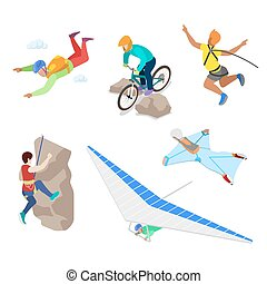 Isometric Extreme Sports People with Bungee, Skydiving and...