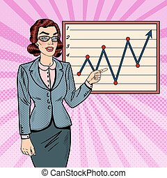 Pop Art Business Woman Showing on Growth Graph. Business Presentation. Vector illustration
