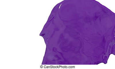 Flow of violet paint splattering on white background and dripping down over white. 3d render with alpha mask for background, transition or overlays. Version 7