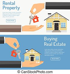 purchase and rental real estate banners - hand giving home...