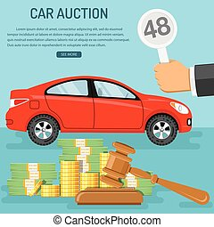 sale car at auction - Auctions and bidding concept. Buyer...