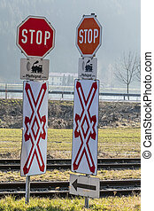 stop signs railroad crossing whistle, symbol of railway,...