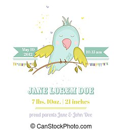 Baby Shower or Arrival Card. Cute Parrot Boy Sitting on a...