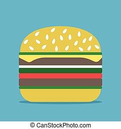 Hamburger on blue background
