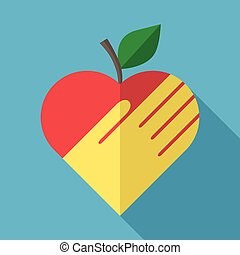 Apple, heart and hand