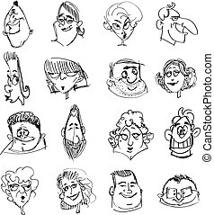 Doodle faces - Vector doodle hand drawn people face set