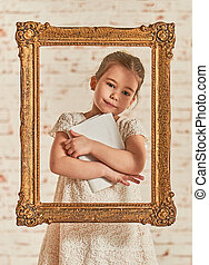 Education concept - Indoor portrait of an adorable young...
