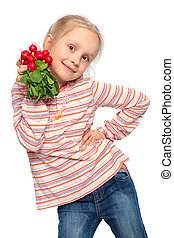 child with fresh vegetable isolated on white background