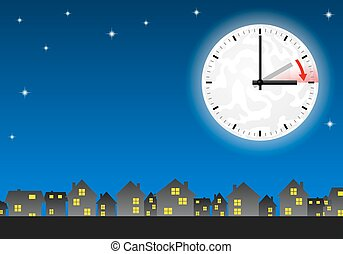 time change to daylight saving time - vector illustration of...