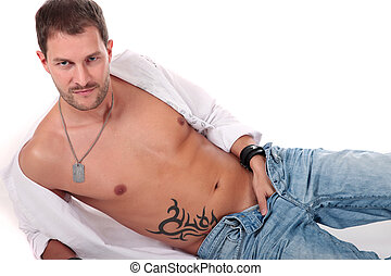 Young seductive caucasian man - Young seductive caucasian...