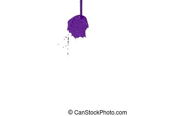 Flow of violet paint splattering on white background and...