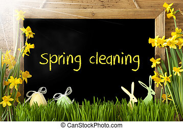 Sunny Narcissus, Easter Egg, Bunny, Text Spring Cleaning -...